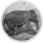 Minnie The Elephant, 1920s Round Beach Towel
