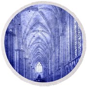 Minster In Blue Round Beach Towel