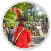 Minuteman And Redcoat Concord Ma Pencil Round Beach Towel