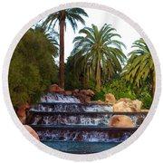 Mirage Waterfall Round Beach Towel