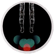 Mirror Icicles Red And Green Bokah Round Beach Towel
