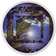 Mirrored Leaf Round Beach Towel