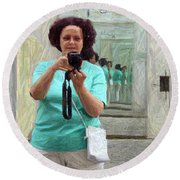 Mirrored Self-portrait Round Beach Towel