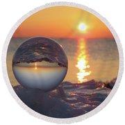 Mirrored Sunrise Round Beach Towel