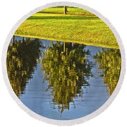 Mirroring Trees Round Beach Towel by Heiko Koehrer-Wagner