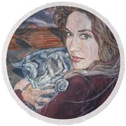 Misha The Cat Woman Round Beach Towel
