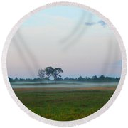 Pink  Sky And Misty Pasturess Round Beach Towel