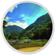 Mismaloya River Fishing Boats 0344 Round Beach Towel