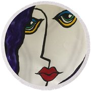 Miss Lonely. Round Beach Towel