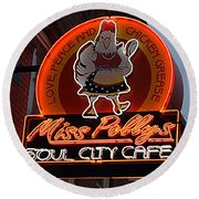 Miss Polly's Soul City Cafe Round Beach Towel