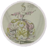 Miss Puvigne As Air, In Zoroastre, A Libretto By Cahusac Round Beach Towel