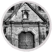 Mission Concepcion Front - Classic Bw Round Beach Towel
