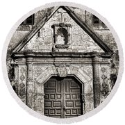 Mission Concepcion Front - Toned Bw Round Beach Towel