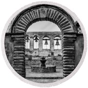 Mission Gate And Bells #3 Round Beach Towel