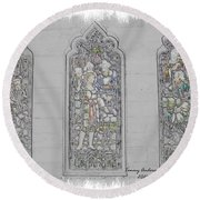 Mission Inn Chapel Stained Glass Round Beach Towel