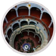 Mission Inn Circular Stairway Round Beach Towel