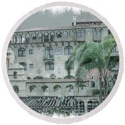 Mission Inn Court Yard Round Beach Towel