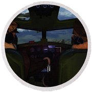 Mission Over Germany - Oil Round Beach Towel