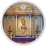 Mission San Miguel Arcangel Altar, San Miguel, California Round Beach Towel