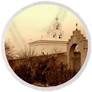 Mission San Xavier Chapel Round Beach Towel