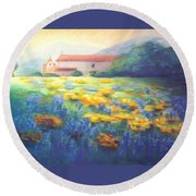 Mission Wildflowers Round Beach Towel