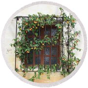 Mission Window With Yellow Flowers Round Beach Towel