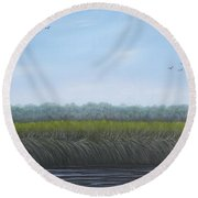 Missiquoi Refuge Round Beach Towel by Tracey Goodwin