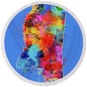 Mississippi Map Color Splatter 3 Round Beach Towel