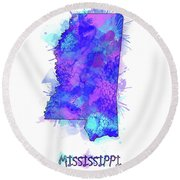 Mississippi Map Watercolor 2 Round Beach Towel