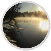 Mississippi River Bank Sunrise Round Beach Towel