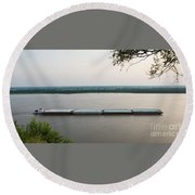 Mississippi River Barge Round Beach Towel