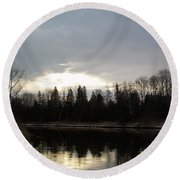 Mississippi River Dawn Clouds Round Beach Towel