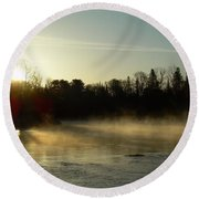Mississippi River Dawn Light Rays Round Beach Towel