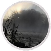 Mississippi River Dawn Sun Rays Round Beach Towel