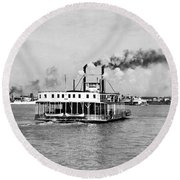 Mississippi River Ferry Boat Round Beach Towel