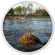 Mississippi River Grass On A Rock Round Beach Towel