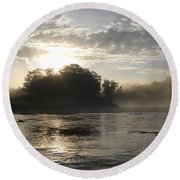 Mississippi River June Sunrise Reflection Round Beach Towel
