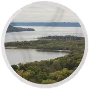 Mississippi River Lake Pepin 7 Round Beach Towel