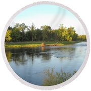 Mississippi River Lovely Dawn Light Round Beach Towel