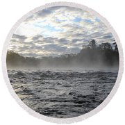 Mississippi River Mist Over Rushing Water Round Beach Towel