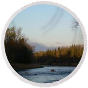 Mississippi River Moon At Dawn Round Beach Towel