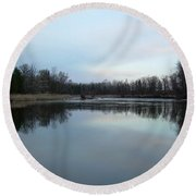 Mississippi River Morning Reflection Round Beach Towel