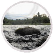 Mississippi River Rocks At Dawn Round Beach Towel
