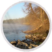 Mississippi River Shades Of Fog Round Beach Towel