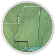 Mississippi State Usa 3d Render Topographic Map Border Round Beach Towel