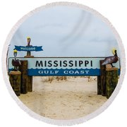 Mississippi Welcome Round Beach Towel