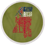Mississippitypographic Map Round Beach Towel