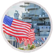 Missouri Battleship Memorial Flags Round Beach Towel