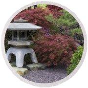 Missouri Botanical Garden A Japanese Snow Viewing Lantern Spring Time Dsc01783 Round Beach Towel