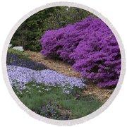 Missouri Botanical Garden Purple Azaleas Dsc01692 Round Beach Towel